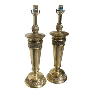 Mid-Century Stiffel Floral Brass Torchieres/ Lamps - a Pair