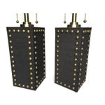 Image of Modern Glam Studded Black & Brass Lamps - Pair