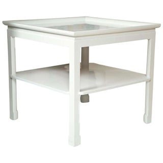 Mid-Century Table in White Lacquer