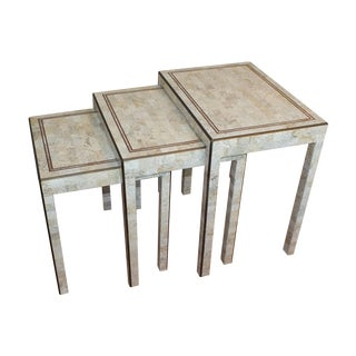 Maitland-Smith Tessellated Marble and Brass Inlay Tables