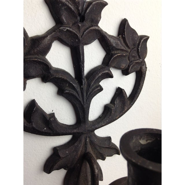 Cast Iron Candle Wall Sconces - A Pair - Image 5 of 5