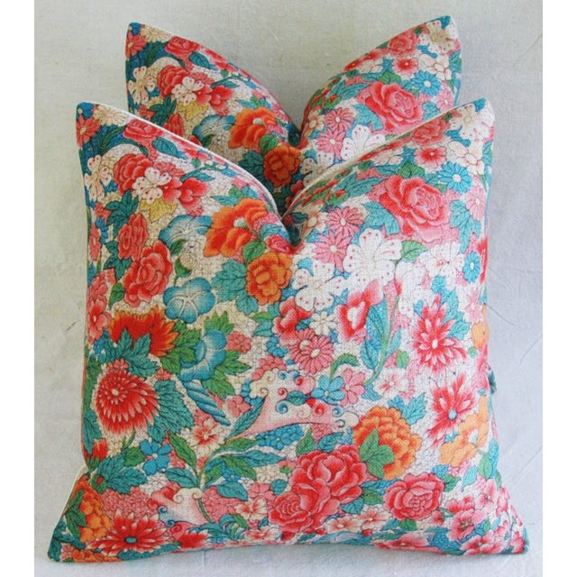 Image of Sale! 4 Summer Floral Linen Pillow Covers - Set 4