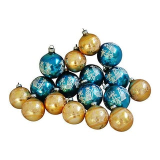 Retro Blue & Gold Stenciled Ornaments - Set of 17