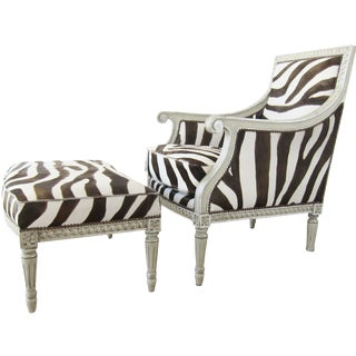 Neoclassical Style Zebra Bergère With Ottoman