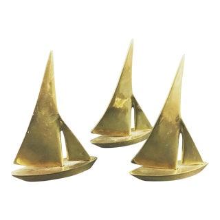 Vintage Brass Sailboats - Set of 3