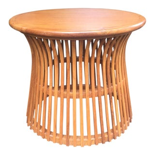 Teak Round Drum Accent Table