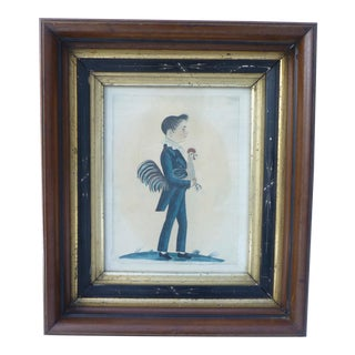 Americana Folk Art Boy With Rooster Print