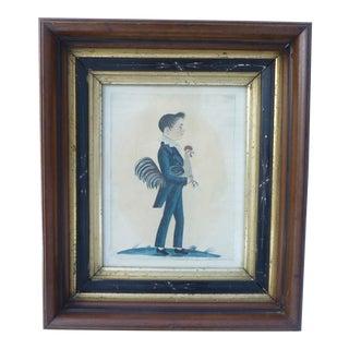 Americana Folk Art Boy With Rooster Print