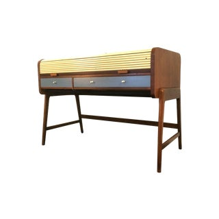 Mid-Century Sligh Lowry Walnut Roll Top Desk