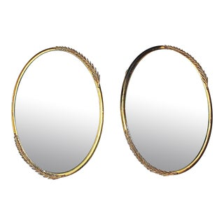 Convex Brass Mirrors - A Pair