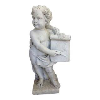 Victorian Style Cast Stone Concrete Cherub Statue