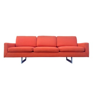 Mid-Century Modern Bright Orange Sofa