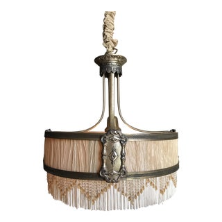 Louis XVI Style Drum Chandelier With Beaded Fringe, C. 1930s