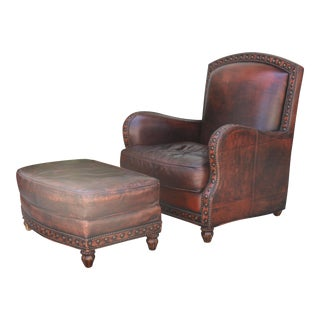 Distressed Leather and Ottoman