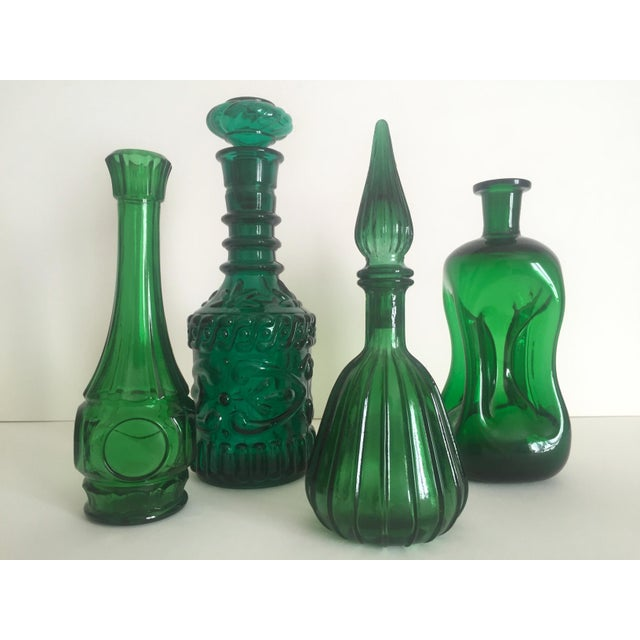 Vintage Mid-Century Modern Collected Green Glass Bottles - Set of 4 - Image 4 of 11