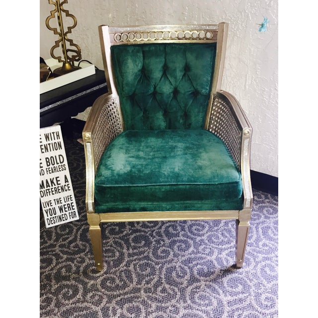 Green Accent Chair Wood Antique Diy: Vintage Green Velvet Tufted Chair