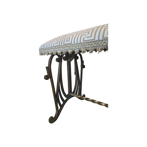 Image of Deco-Style Gold Wrought Iron Bench