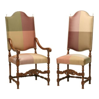 French Walnut Dining Chairs in Austrian Silk, Set of 12