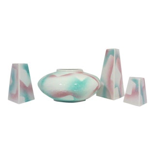 Modernist Bowl and Triangular Candle Holders - 4