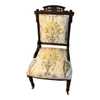Ikat Upholstered Victorian Eastlake Chair