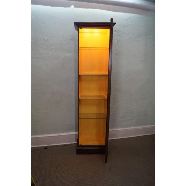 Baker Vintage Walnut Narrow Lighted Curio Cabinet - Image 7 of 10