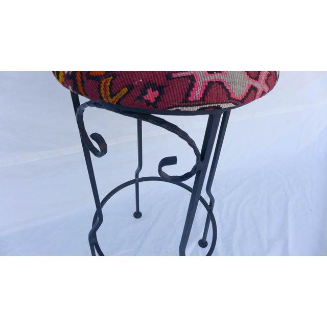 Hand Wrought Iron Turkish Kilim Bar Stool Chairish