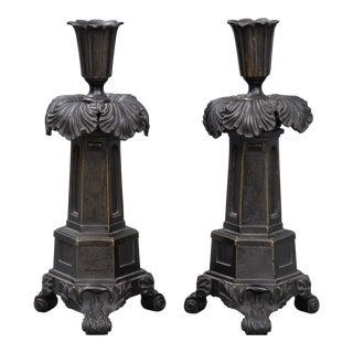 Antique English Pair of Regency Bronze Candlesticks