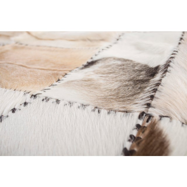 """Hand Stitched Goatskin Patchwork Area Rug - 5'1"""" x 8'1"""" - Image 6 of 9"""