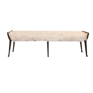 Faux Fur Covered Wrought Iron Bench