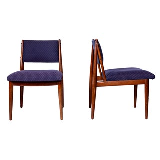 Mid Century Walnut Dining Chairs by Henredon USA