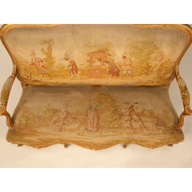 Antique French Gilded Louis XV Style Settee - Image 6 of 10