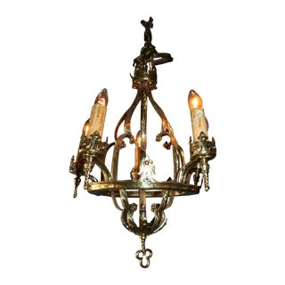 Antique French Brass Cage Chandelier
