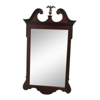 Antique Mahogany Carved Broken Arch Brass Eagle Dresser Hanging Wall Mirror