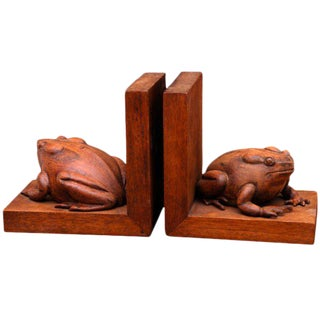 Frogs Bookends Hand Carved In Mahogany - A Pair
