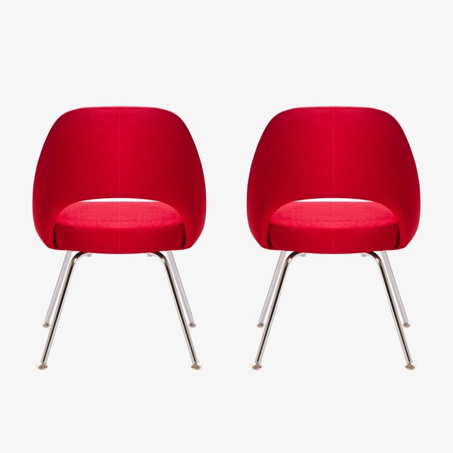 Saarinen for Knoll Executive Armless Chairs in Original Knoll Fire-Red, Pair - Image 6 of 9