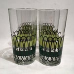 Image of Green and Black Libbey Tumblers - S/6