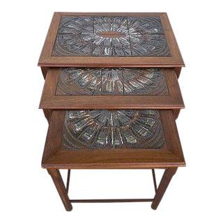 Danish Teak & Tiles Nesting Tables - Set of 3