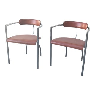 Mid-Century Segis Chrome & Leather Chairs - A Pair