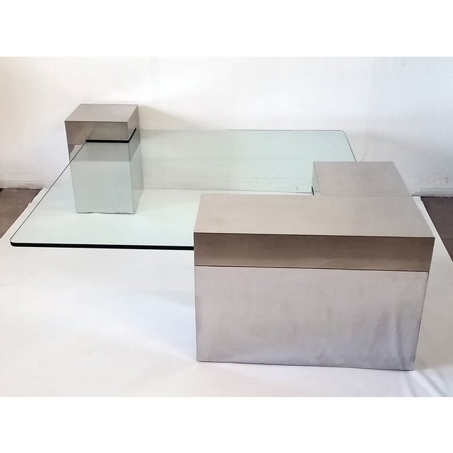 Paul Evans Style Chrome & Glass Coffee Table - Image 6 of 7