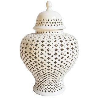 Pierced Porcelain Jar with Lid