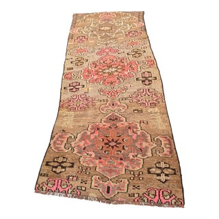 "Vintage Turkish Oushak Short Runner - 3'2"" x 8'5"""