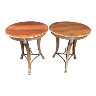 Classical Italian Accent Sabre Leg Side Tables - A Pair