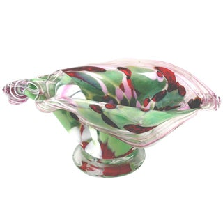 Murano Pink and Green Aventurine Fazzoletto Footed Bowl*