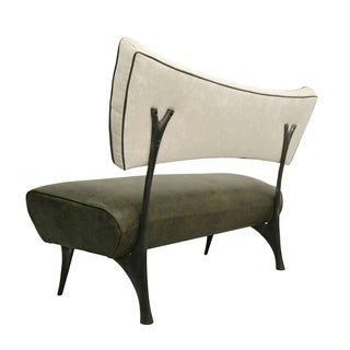 Jordan Mozer Steel, Leather and Velvet Bench