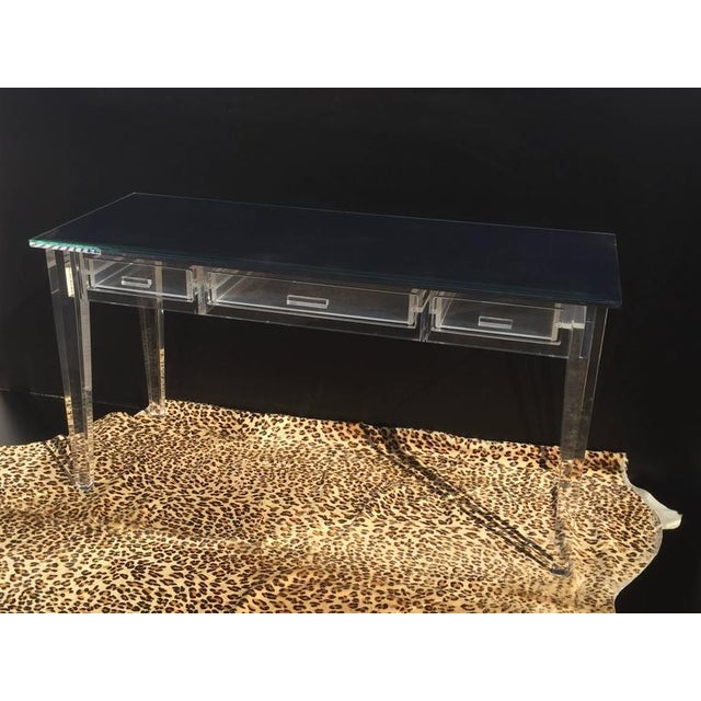 Image of Elegant Lucite Desk with Mirror Top Style of Charles Hollis Jones