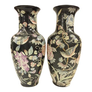 Vintage Black Porcelain Chinese Bird & Flower Vases - A Pair