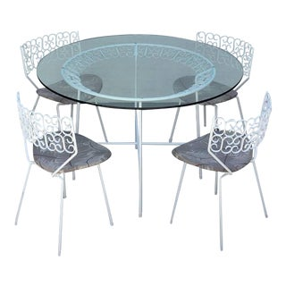 Five-Piece Wrought Iron and Glass Dinette Set by Arthur Umanoff