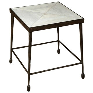 Iron and Douglas Fir Inset Side Table