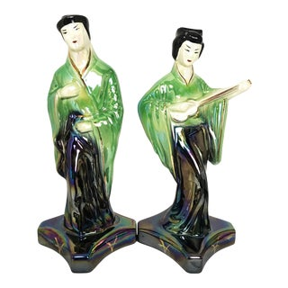 Japanese Moriyama Lusterware Male & Female Porcelain Statue Figurines - a Pair