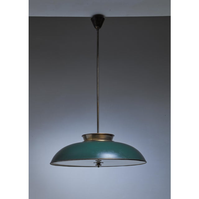 Large Swedish brass pendant lamp by Harald Notini, 1930s - Image 3 of 6